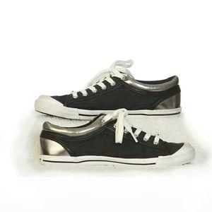 Coach Silver and Black Sneaker Tennis Shoe Size 8